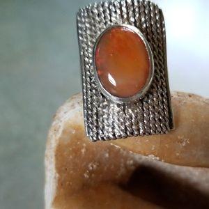 925 FIRE OPAL MEXICAN RING!BIG&BEAUTIFUL